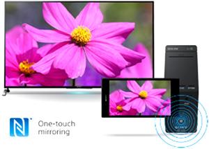 Visuel représentant la connectivité NFC sur la télécommande d'une TV