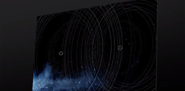 Visuel représentant l'émission du son au niveau du centre sur une TV Sony avec système Acoustic Surface +