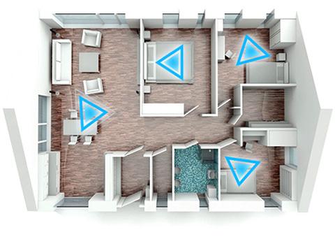 Systèmes Samsung Multiroom Link déployés dans plusieurs pièces