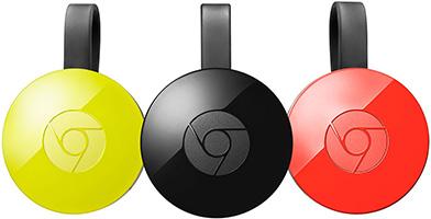 Photos du Chromecast V2 décliné en proposé en différents coloris