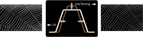 Visuel représentant la fonction Line Thinning du traitement Ultra Resolution