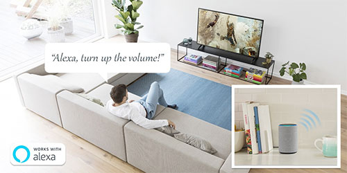 Visuel représentant une TV compatible Amazon Alexa