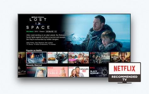 Visuel représentant une TV connectée Sony Netflix Recommended TV