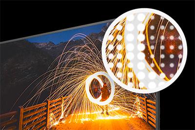 Visuel représentant la technologie dimming d'une TV Thomson