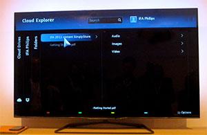 Visuel représentant l'application Cloud Explorer accessible à partir de certaines Cloud TV Philips