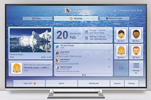 Visuel représentant une TV connectée Toshiba avec fonctions Cloud TV