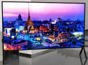 Photo de l'écran Sharp 8K compatible 5G présenté à l'IFA 2019 - (crédit : Sharp)