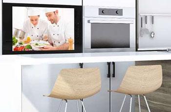 Illustration de la TV encastrable pour cuisine présentée par Wemoove à l'occasion de l'IFA 2019 - (crédit : Wemoove)