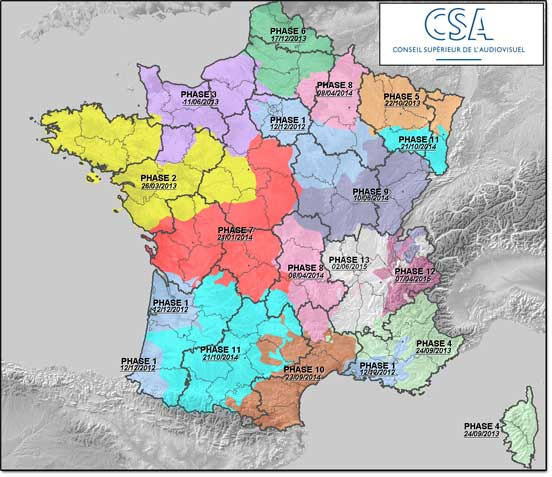 Carte prévisionnelle du déploiement hertzien des six nouvelles chaînes TNT en France métropolitaine