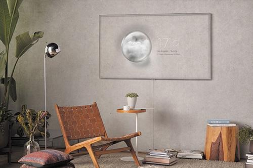 Visuel représentant une TV Samsung 4K UHD avec mode Ambiant