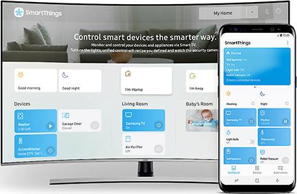 Illustration du centre de contrôle SmartThings des TV Samsung QLED 2018